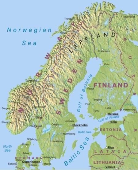 Physical map of Scandinavian countries. Denmark, Sweeden, Norway.