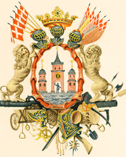 The coat of arms of Copenhagen, Denmark