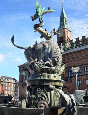 Copenhagen Denmark - The monument of Bull render Dragon