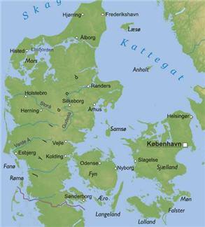 Physical Map of Denmark