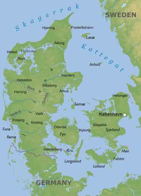 Physical Map Of Denmark - Germany physical map